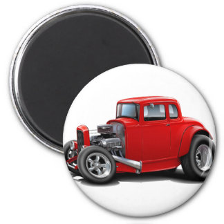 1930's Hot Rod Red Car 2 Inch Round Magnet