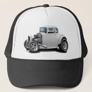 1930's Hot Rod White Car Trucker Hat
