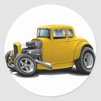 1930's Hot Rod Yellow Car Classic Round Sticker