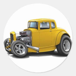 1930's Hot Rod Yellow Car Classic Round Sticker