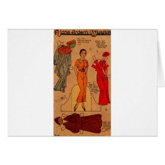1930s Jane Arden paper doll blue dress red dress Card