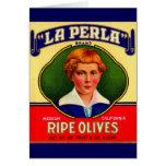 1930s LaPerla Olives label Card