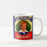 1930s LaPerla Olives label Coffee Mug