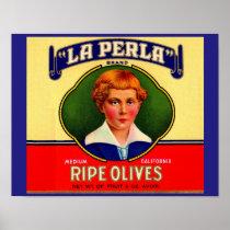 1930s LaPerla Olives label Poster