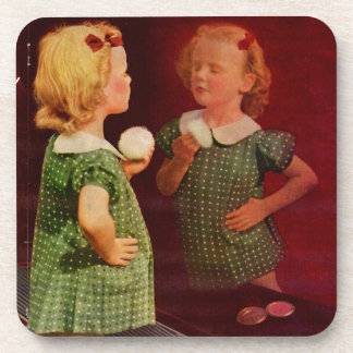 1930s little girl looking in the mirror drink coaster