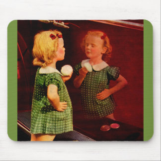 1930s little girl looking in the mirror mouse pad