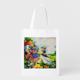 1930s mama kitty cat and baby kitty visit ducks grocery bag