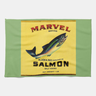 1930s Marvel salmon can label Kitchen Towel