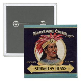 1930s Maryland Chief Stringless Beans label Button