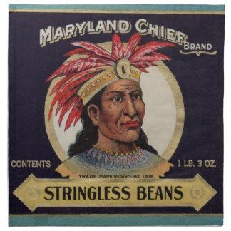 1930s Maryland Chief Stringless Beans label Napkin