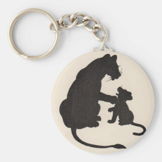 1930s mother lion and cub silhouettes keychain