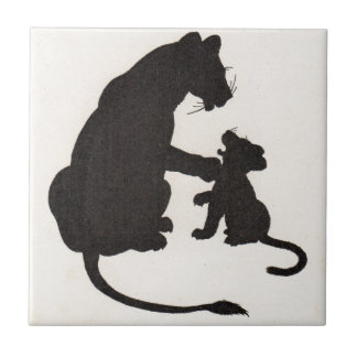 1930s mother lion and cub silhouettes tile