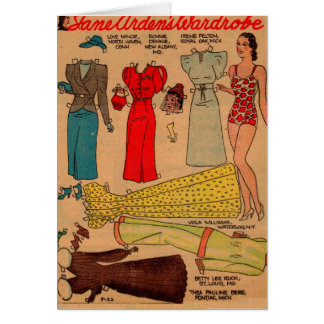 1930s paper dolls slinky white dress and more card