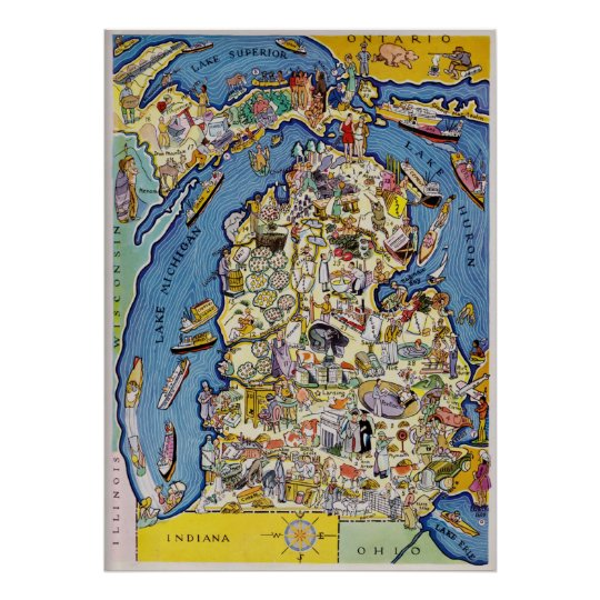 1930 S Pictorial Michigan Map Poster Zazzle Com