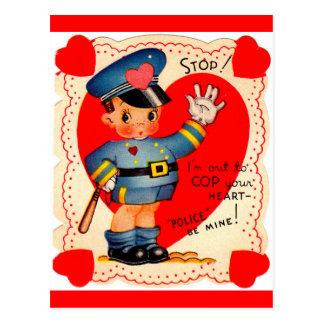 1930s police boy valentine postcard