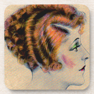 1930s red-headed woman in profile drink coaster