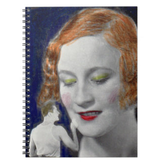 1930s redhead woman and her teeny tiny husband spiral notebook
