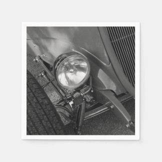 1930's Roadster Grayscale Paper Napkin