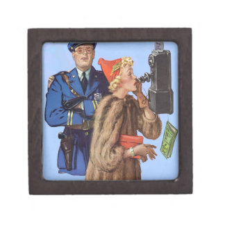1930s traffic cop and rich lady arrestee keepsake box