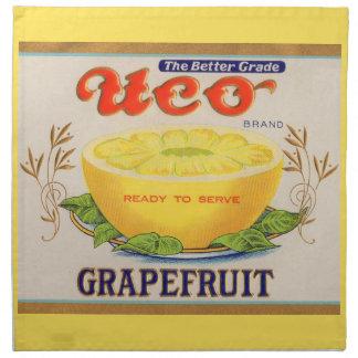 1930s Uco Brand Grapefruit label Napkin
