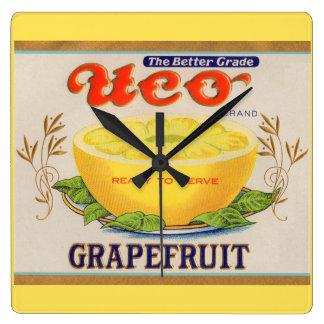 1930s Uco Brand Grapefruit label Square Wall Clock