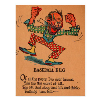 1930s vinegar valentine: the Baseball Bug Postcard