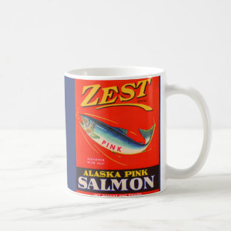 1930s Zest pink salmon can label Coffee Mug
