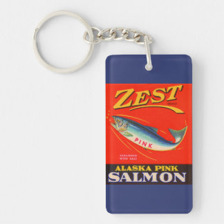 1930s Zest pink salmon can label Keychain