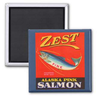 1930s Zest pink salmon can label Magnet