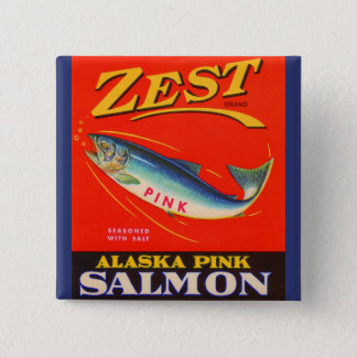 1930s Zest pink salmon can label Pinback Button