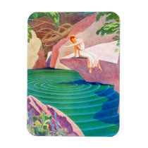 1931 art deco woman by a pond magnet