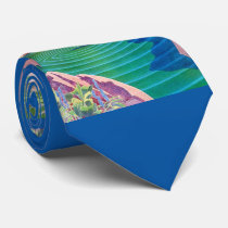 1931 art deco woman by a pond neck tie