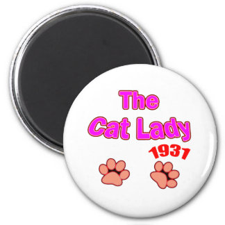 1931 cat lady 2 inch round magnet