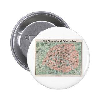 1932 Art Deco Map of Paris France Pinback Button