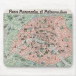 1932 Art Deco Map of Paris, France Mousepads