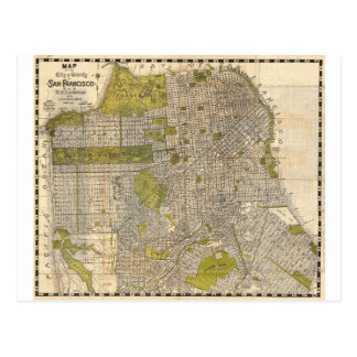1932 Candrain Map of San Francisco California Postcard
