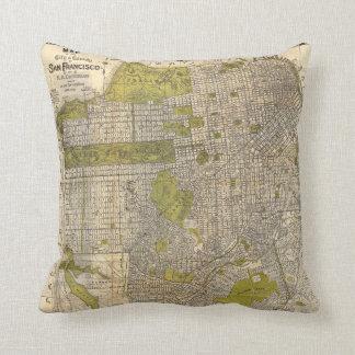 1932 Candrain Map of San Francisco California Throw Pillow