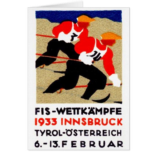 1933 Austrian Ski Race Poster Card