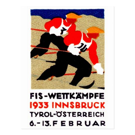 1933 Austrian Ski Race Poster Postcard
