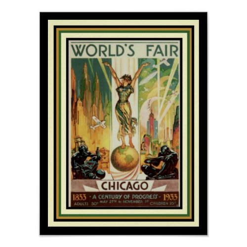 1933 Chicago World's Fair Art Deco Poster  12 x 16