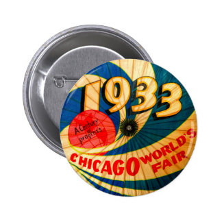 1933 Chicago Worlds Fair Souvenir Parasol 2 Inch Round Button