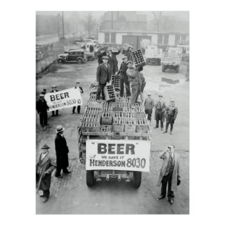1933 WE HAVE BEER! - PROHIBITION ENDS POSTER