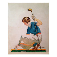 1933 Woman Golfer - On Premium Canvas Poster