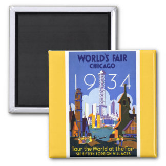 1934 Chicago World's Fair 2 Inch Square Magnet