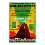 1934 Chicago Worlds Fair by Train Poster