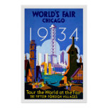 1934 Chicago World's Fair Vintage Travel Poster