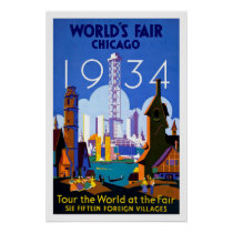 1934 Chicago World's Fair Vintage Travel Poster