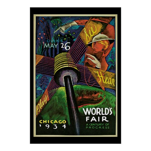 1934 Chicago World's Fair Vintage Travel Poster II