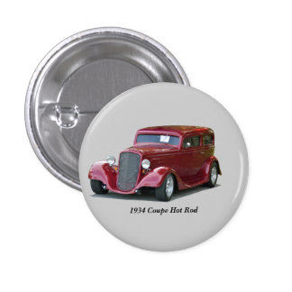 1934 Customized Coupe Hot Rod Pinback Button