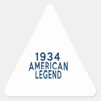 1934 diseños del cumpleaños de la leyenda del pegatina triangular